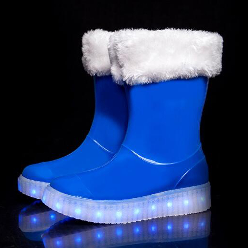 DJSUNYMIX Winter Children snow boots for kids winter plush boys girls led glowing shoes antislip galoshes rubber Rainboot uovo children winter shoes kids fox fur walking shoes girls snow shoes mid cut footwear for kids winter hiking boots for girls