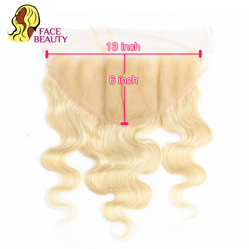 Facebeauty 13x6 Lace Frontal Peruvian Body Wave Remy Blonde 613 Color Preplucked Lace Frontal Closure 13