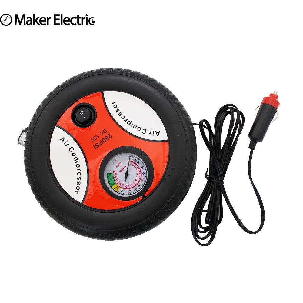 Freeshipping Car Inflator Cool Tire Shape 90W 12V DC Mini Pump Auto Emergency Air Machine Hide Wire Design ABS Material