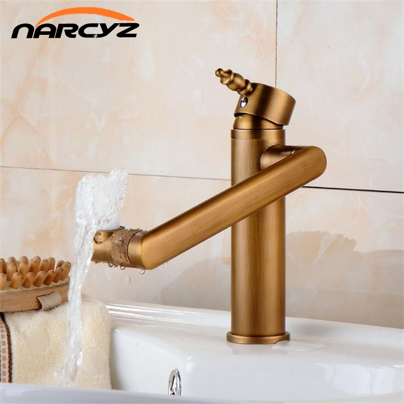 Basin Faucet Antique Color 360 Degree Swivel Spout Bathroom Faucet Single Handle Sink Tap Mixer Hot and Cold Water Taps XT963 basin faucet water tap bath 360 degree swivel antique bathroom faucet single handle sink tap mixer hot and cold sink water crane