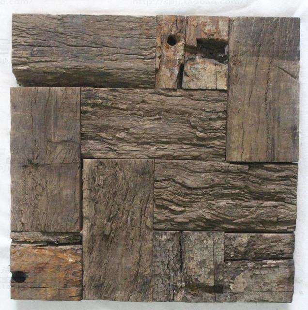 Aliexpresscom Buy 3D rustic natural wood mosaic tile kitchen