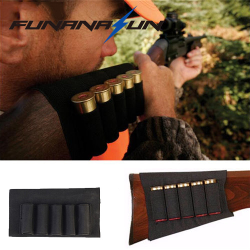 Hunting Shotgun Rifle 5 Shells Buttstock Shell Holder Cartridge 12GA Elastic Armband Holster Pouch Black Airsoft Ammo Carrier цена