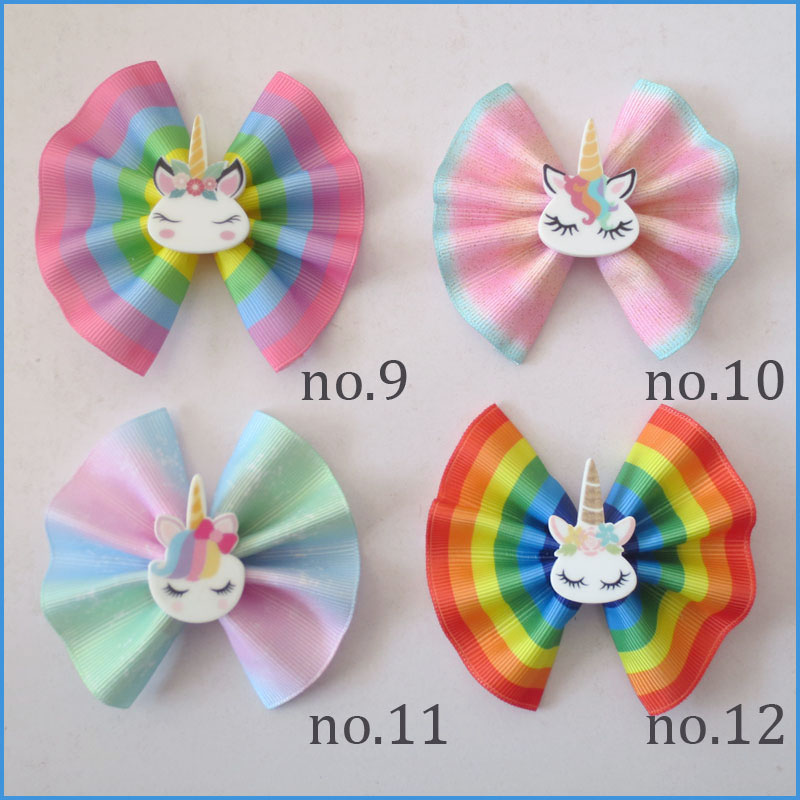 "100 BLESSING Girl 3/"" Fan Hair Bow Clip Unicorn Wholesale Laser Gold Stamping"