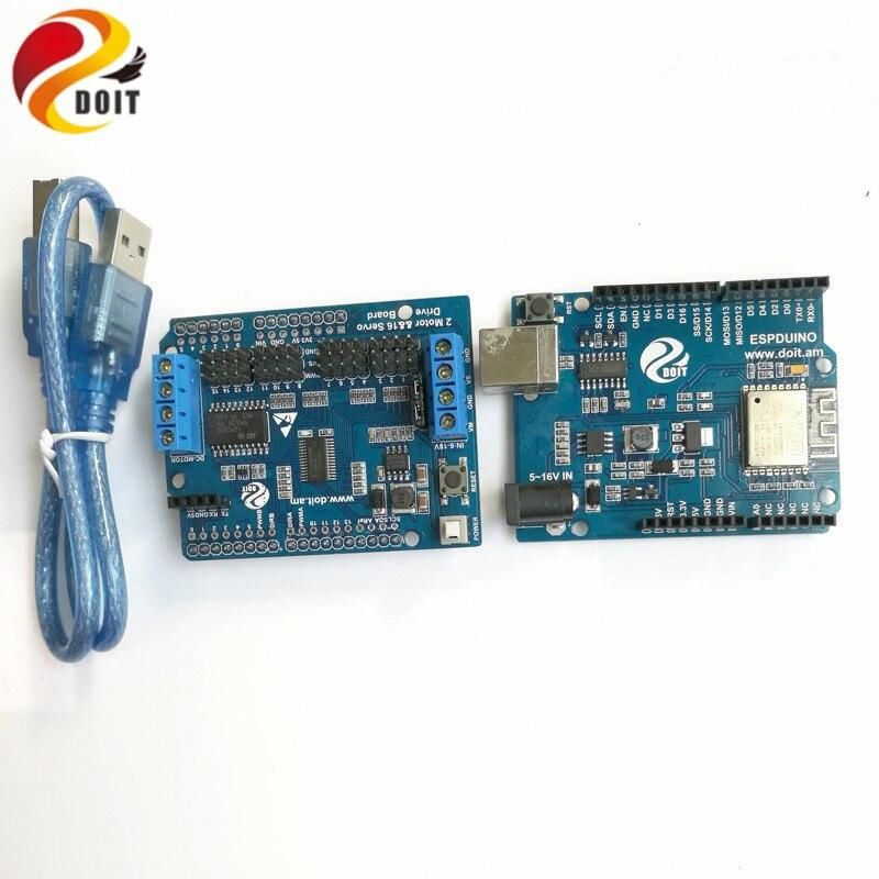 WiFi+Arduino Development Kit base on ESPduino Development Board+ Motor Driver Board compatible with Arduino UNO R3 itead mega2560 r3 development board for arduino compatible with uno all kinds of extended board