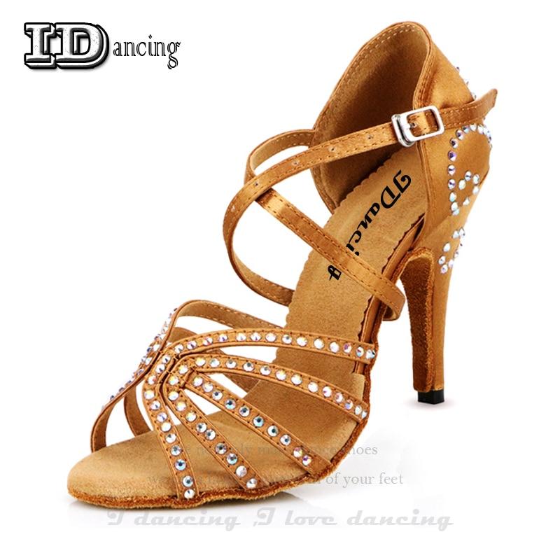 Sneakers Dance Shoes Girls Ballroom Latin Shoes Women Dancing Shoes Heels Bronze Rhinestone Women Waltz Social Shoes JuseDanc