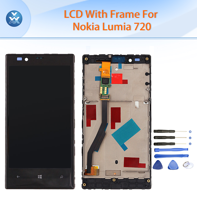 Lcd original para nokia lumia 720 pantalla lcd de pantalla táctil digitalizador