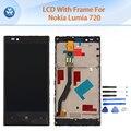 """Lcd original para nokia lumia 720 screen display lcd de toque digitador quadro assembléia 4.3 """"pantalla peças de reparo do telefone + ferramentas preto"""