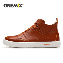 ONEMIX New Men Skateboarding Shoes Lightweight flat Sneakers Soft Leather Casual Flat Oxfords For Walking Size39-45