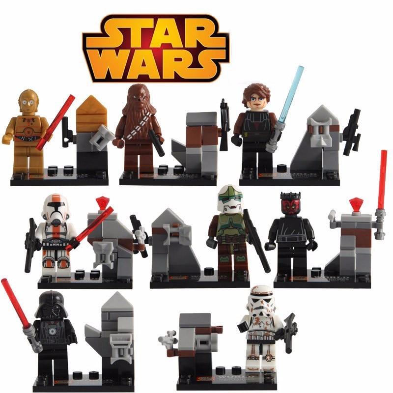 16Pcs/lot Star Wars Clone Troopers Yoda Han Solo Obi Wan Darth Vader Anakin Skywalker Mini Starwars Figure Blocks Toys star wars the last jedi yoda obi wan darth vader storm trooper building block compatible with legoinglys starwars action figure