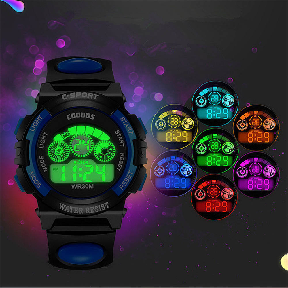 G Sports Children's Watches Child Water-proof Watch 7 Color Lights Electronic Clock Blue Luminous Alarm Clock Calendar Auto Date