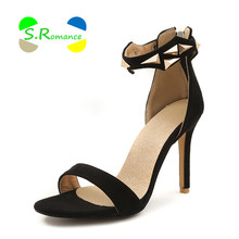 S.Romance Women Sandals Size 34-43 Rivets Ankle Wrap Back Zipper Supper High Thin Heels New Fashion Women's Sumer Shoes SS066(China)