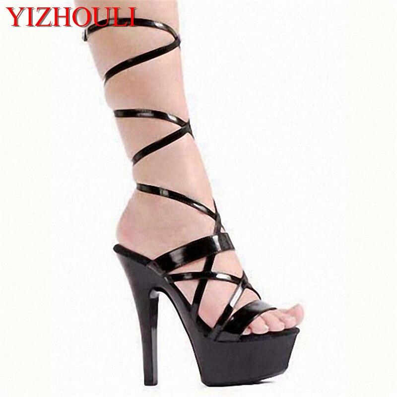 Haute Sandales Qui Le Performance Mode Noir De Laque Super Mariée Défilé Mince Chaussures Avec Font Talons Fille La IzOzqw