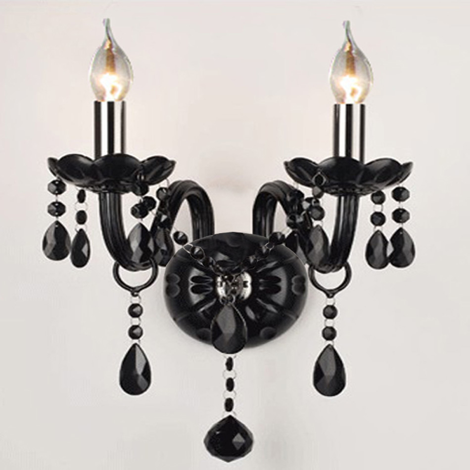 Modern Brief black candle crystal wall lamp bedroom ...