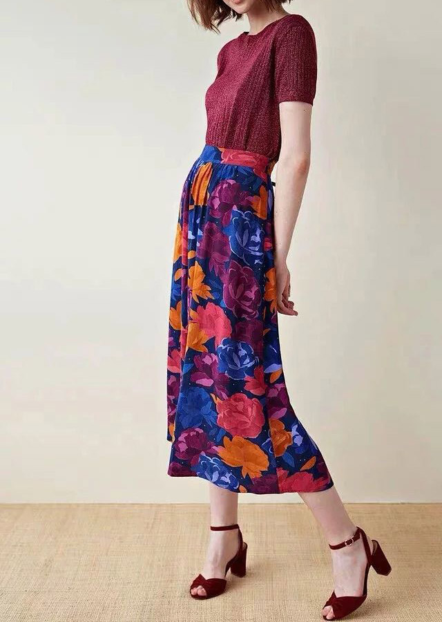 Women Skirt Peony Flower Bright Color Matching Vintage Oil Graffiti Print A-Line Skirt