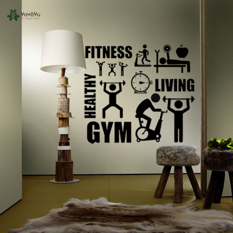 YOYOYU Wall Decal Healthy Lifestyle Sport Wall Sticker Motivation Fitness Gym Vinyl Decors For Walls Art Repetable YO245 in Wall Stickers from Home Garden