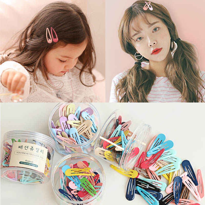 10 pieces/lot High Quality Cokorfui Snap Hair Clips for Kids Solid Matel hairpins Girls Hair accessories Clips For Women