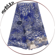 New Net African Lace Fabric 2019 High Quality Embroidered Tulle Swiss Mesh Dubai Gold Royal Blue