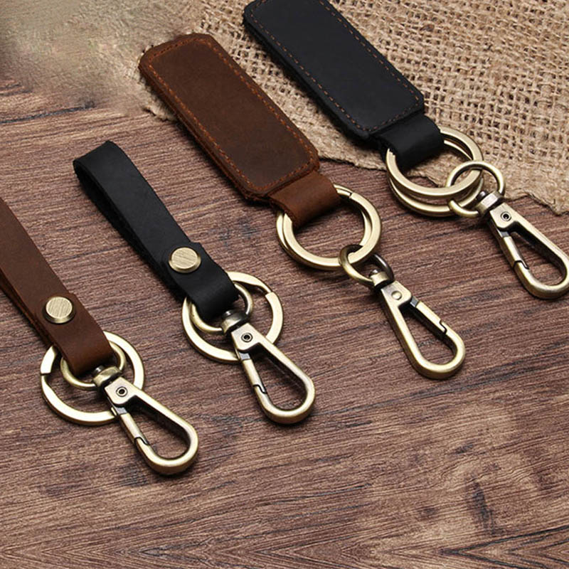 New Style Personality Handmade Leather Keyring Retro Vintage Bronze Car Keychain Pendant Waist Hanging Men Women Jewelry Gift 35