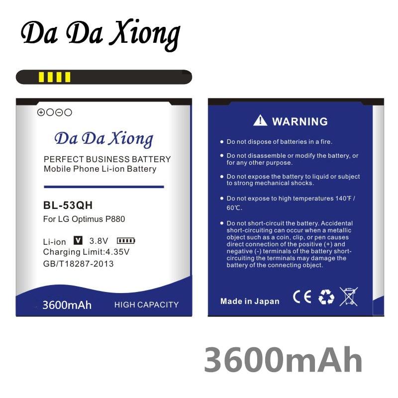 Da Da Xiong 3600mAh Bateria para LG Optimus P880 BL-53QH F160 P760 P765 P870 P769 P768 L9 KP765 F200 f200L/S/K E0267