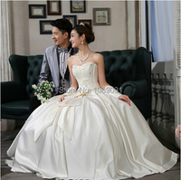 2017 New Elegant Satin Wedding Dresses with Bow Perfect Formal Dress Ball Gown Sweetheart Beautiful Princess Bridal Gown