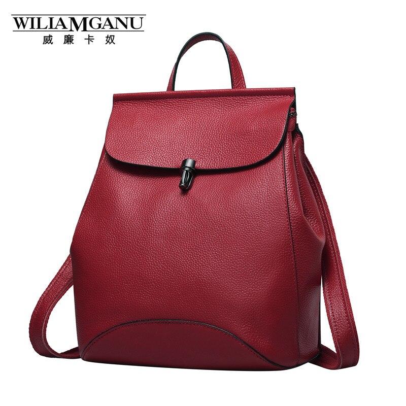 WILIAMGANU Genuine Leather Backpack Women Bags For Teenagers Girls Female Travel Bag ipad Mini Laptop Backpack