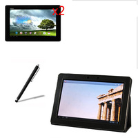 4in1 Luxury Folio Stand Leather Case Magnetic Cover 2x Clear Screen Protector 1x Stylus For ASUS