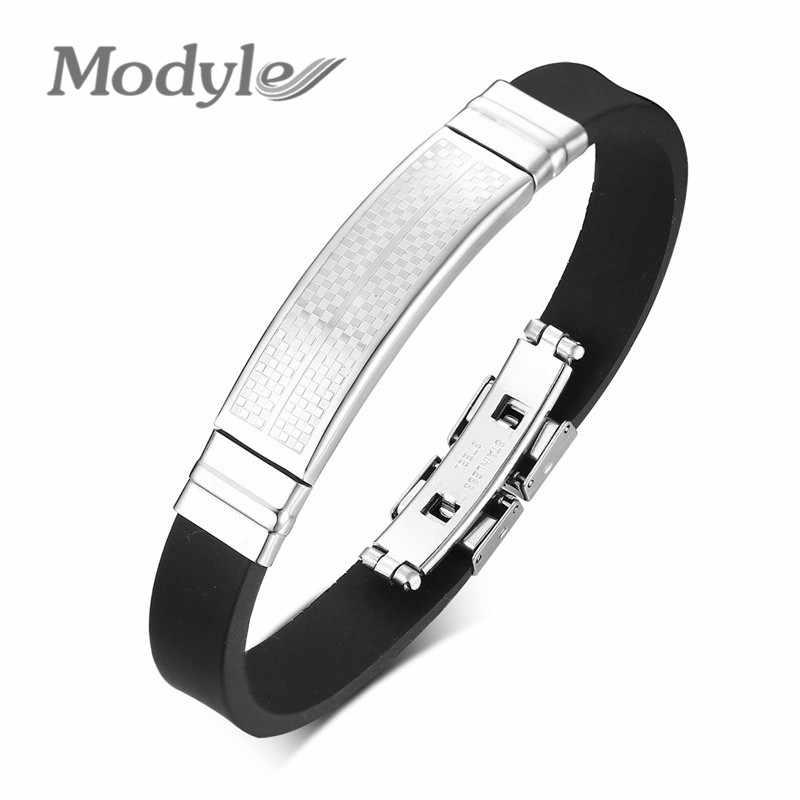 Модные черные силиконовые браслеты для мужчин и женщин, серебряный тон, сетка в форме ID тега, повседневные спортивные браслеты pulsera masculina