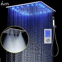 3 струй светодиодный интеллектуальный цифровой дисплей дождь Душ Instal светодиодный в стене 20 Туман для спа осадков термостатический Touch Пан
