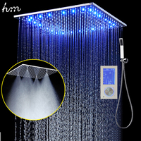 3Jets LED Intelligent Digital Display Rain Shower Set Installed in Wall 20 SPA Mist Rainfall Thermostatic Touch Panel Mixer