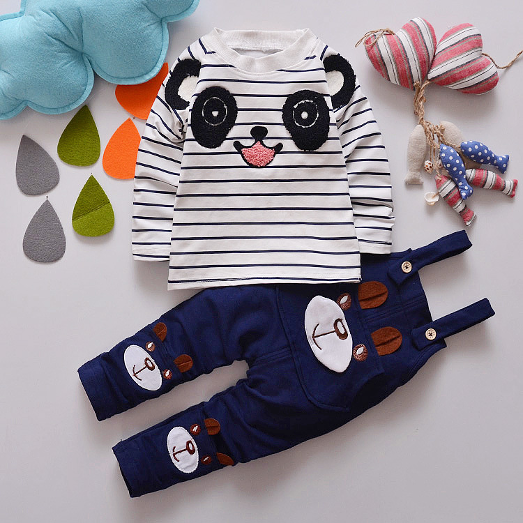Boys Girls Clothing Sets Cotton Striped Panda T-Shirts & Bear Overalls 2Pcs Toddlers Infants Outfits Autumn Unisex Baby Clothes