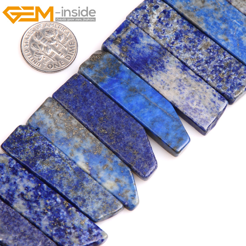 Gem inside AAA Natural Blue Lapis Lazuli Beads Flat Stick Point Beads For Jewelry Making Strand