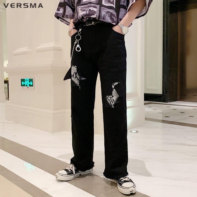 VERSMA 2019 High Street Ripped Patchwork Denim Jeans Pants Trousers Men Korean Harajuku American Loose Jean Men Denim Overalls