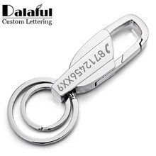 Custom Lettering Keychains Stainless steel Keyrings Metal Engrave Name Customized Logo Key Chain For Car Women Men gift K372(China)