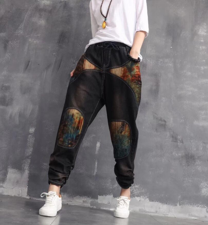 Women Harem Bottom   Jeans   2019 Spring Casual Denim Pants Trousers for Ladies Embroidery Patchwork Loose Plus Size Vintage w406