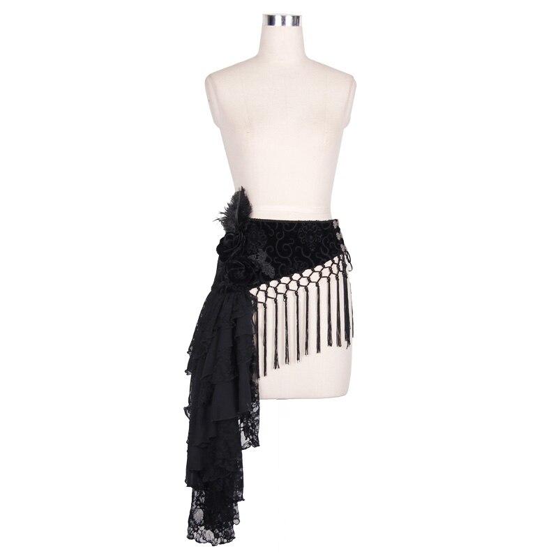 Devil mode gothique motif femmes ceintures nouvelle marque dames solide noir décoratif glands ceinture avec plume 2016