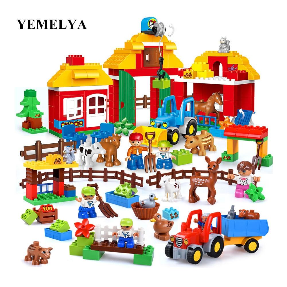 123 pièces ferme et animaux blocs enfants bricolage briques jouets Duploe enfants cadeau heureux ferme Zoo