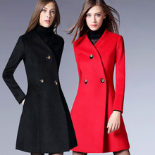 Europe 2016 New Women's Clothing In The Autumn/winter Fur Coat V-neck Collar Show Slim Long Woolen Coat for Female Pure Color