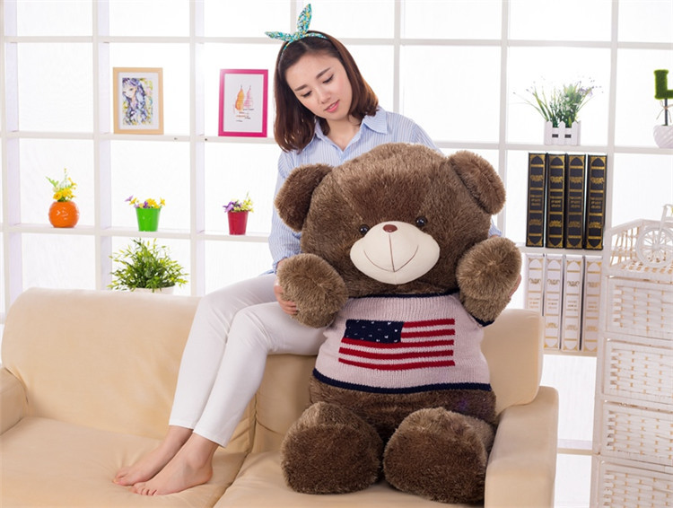 100% new stuffed plush toy large 120cm dark brown teddy bear toy , flag sweater bear doll soft hugging pillow, gift b1397 ключ разводной gross 15566