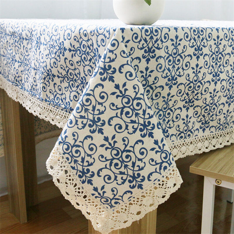 Hot High Quality Cotton Linen Rectangular Tablecloth New Blue And White Porcelain Pattern Tablecloths Vintage Style Table Cloths