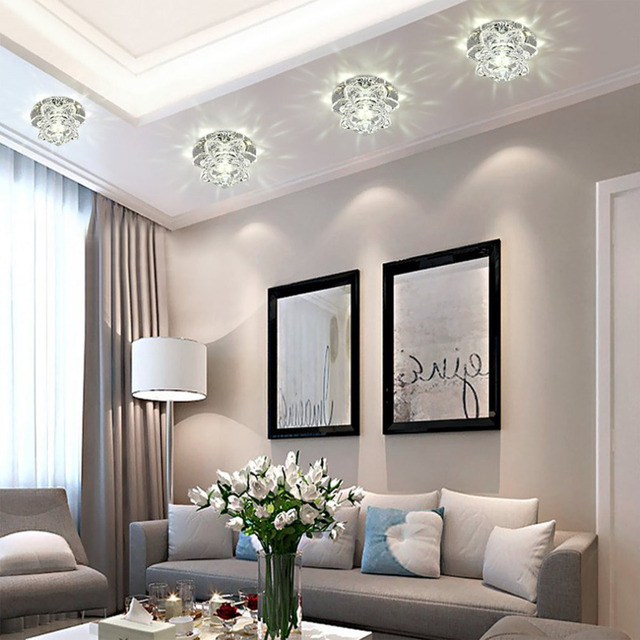 couloir miroir plafond lampe all e lumi re v randa clairage 6 led 3 w vers le bas cristal. Black Bedroom Furniture Sets. Home Design Ideas