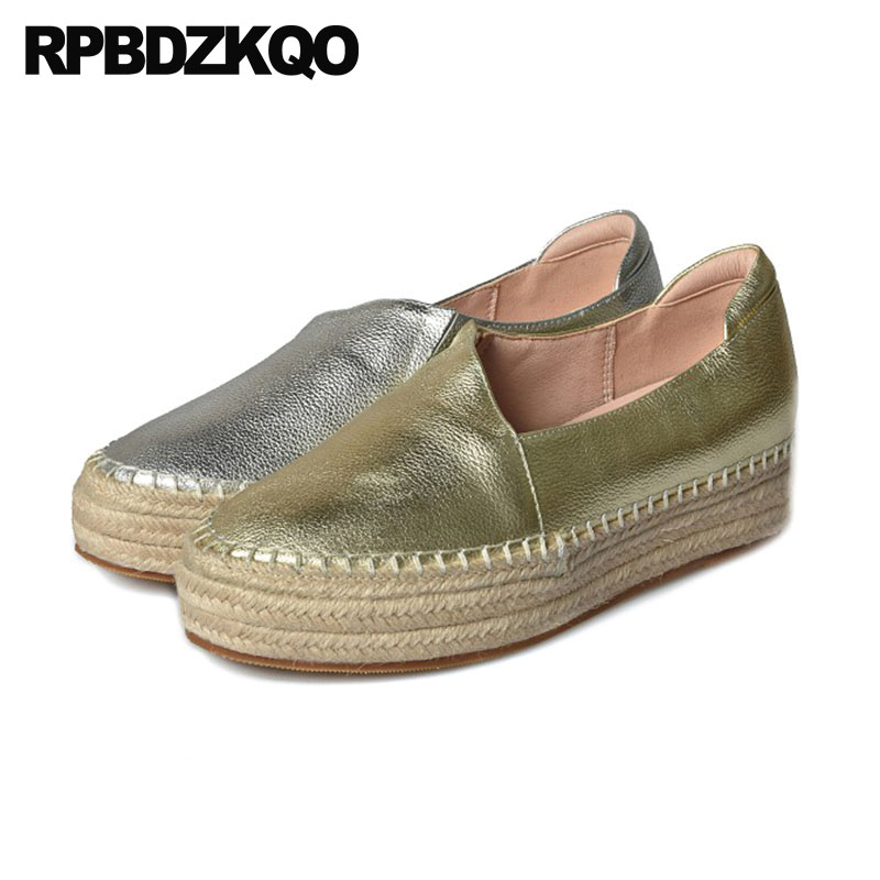 Creepers Platform Shoes Women Fisherman Metallic Hemp Muffin Luxury Brand Genuine Leather Flats Gold Silver Elevator Espadrilles
