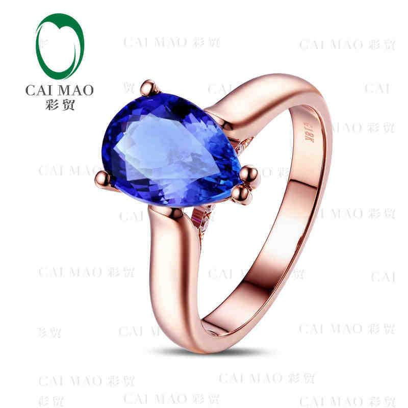 CaiMao 18KT/750 желтое золото 2,0 ct натуральный если Синий танзанит AAA 0,07 ct полный огранки обручение Драгоценное кольцо ювелирные изделия