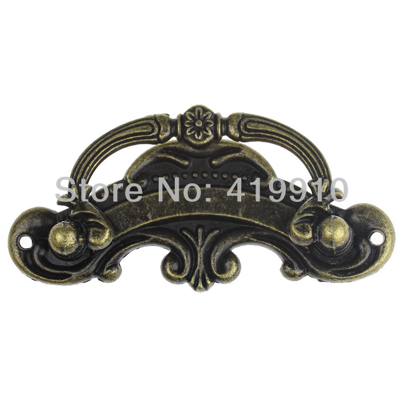 3PCs Jewelry Cabinet Cupboard Box Handle Drawer Pull Antique Bronze Pattern Carved 9.4cm X 4.5cm(3 6/8