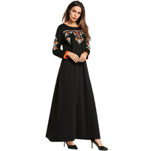 185716 Mideast Muslim Womens Dress Euramerica Long Skirt Embroidered National Style Dresses Vestidos Mujer Musulman Fashion