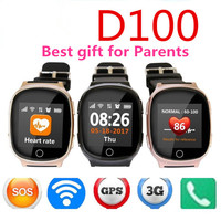 D100 Heart monitor Elderly Smart Watch Health and entertainment function Anti lost Gps+Lbs+Wifi Tracking for iOS Android watches
