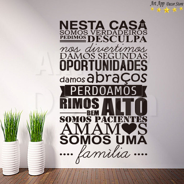 Good Quality Art New Design Portuguese Home Rules Room Decor Vinyl Wall  Decals Removable Home Decoration