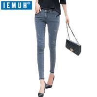 IEMUH 2019 Hot Sexy Jeans denim Mujer Pantalones niñas Pantalones Vaqueros de Cintura Alta pantalones Mujer Plus Tamaño de Los Pantalones Vaqueros para Las Mujeres Skinny Jeans Lápiz de Color Gris Pant