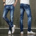Mens Pantalones Vaqueros Azules Claros Delgados Stretch Slim Fit Straight Denim Jeans Hombres Lápiz Pantalones Largos Hombres Jóvenes 956