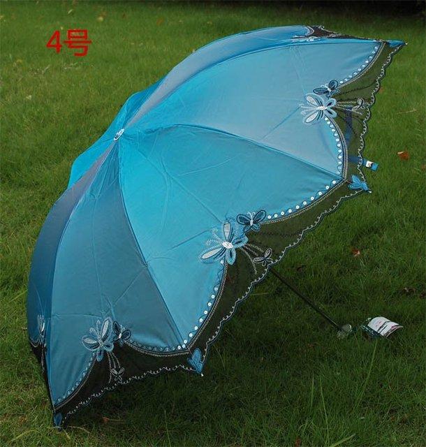 High Grade Ladies Fashion Sun Umbrella Blue UV Protection Rain Umbrella  Birthday Gift  Free Shipping