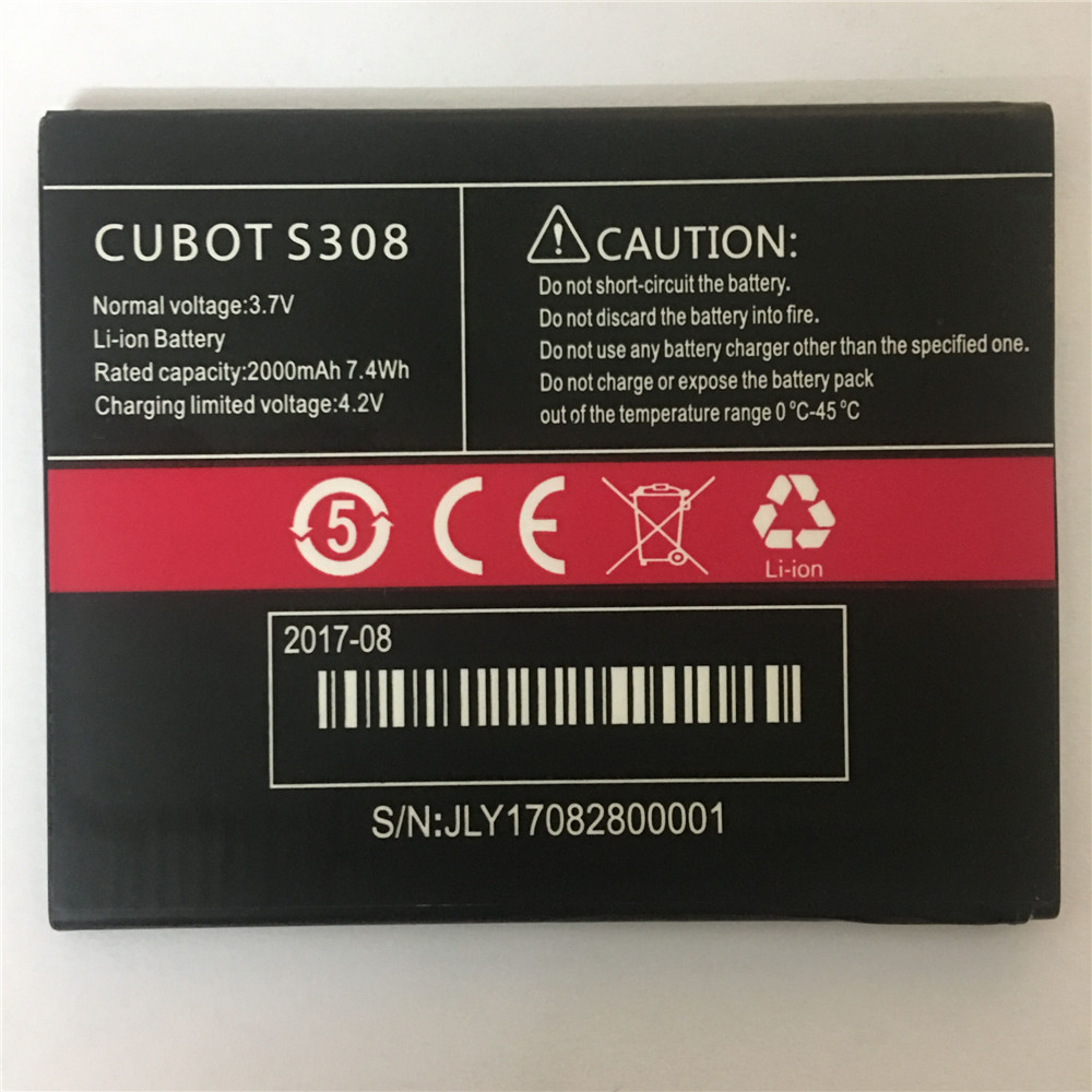 Original Cell Phone <font><b>Battery</b></font> <font><b>S308</b></font> For <font><b>Cubot</b></font> Replacement <font><b>Batteries</b></font> High Capacity 2000mAh Smart Mobile Batteria image